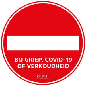 sticker verboden voor covid19 griep verkoudheid